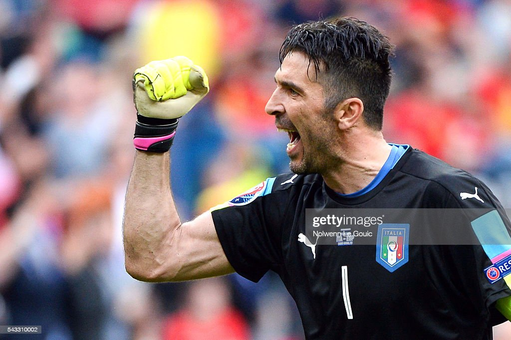 Gianluigi Buffon of Italy celebrates second goal of Italy during the European Championship match Round of 16 between Italy and Spain at Stade de France on June 27, 2016 in Paris, France.