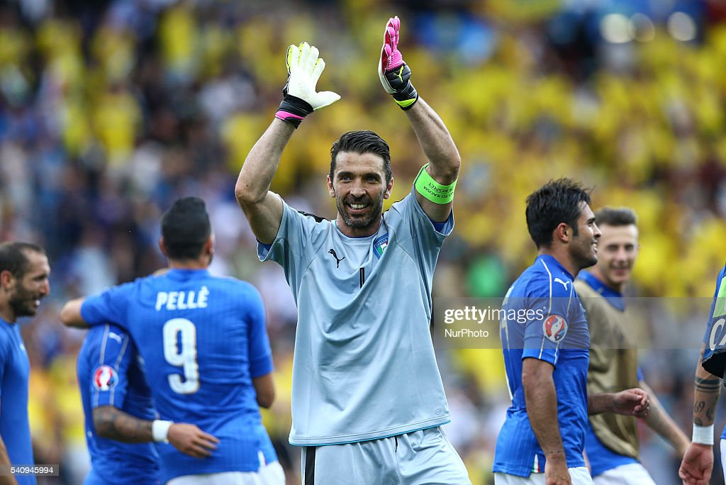 Gianluigi Buffon of Italy celebrates the victory after the UEFA EURO 2016 Group E match between Italy and Sweden at Stadium Municipal on June 17, 2016 in Toulouse, France.