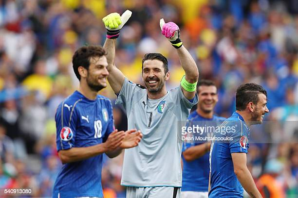 Gianluigi Buffon of Italy celebrates victory following the UEFA EURO 2016 Group E match between Italy and Sweden at Stadium Municipal on June 17 2016...