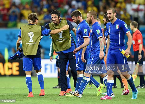Gianluigi Buffon of Italy celebrates with his teammates after Italy defeated England 21 in the 2014 FIFA World Cup Brazil Group D match between...