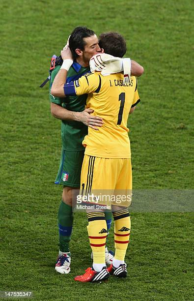 Gianluigi Buffon of Italy congratulates Iker Casillas of Spain after the UEFA EURO 2012 final match between Spain and Italy at the Olympic Stadium on...