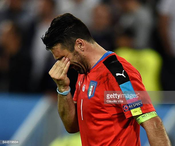 Gianluigi Buffon of Italy cries at the end of the UEFA Euro 2016 quarter final match between Germany and Italy at Stade Matmut Atlantique on July 2...