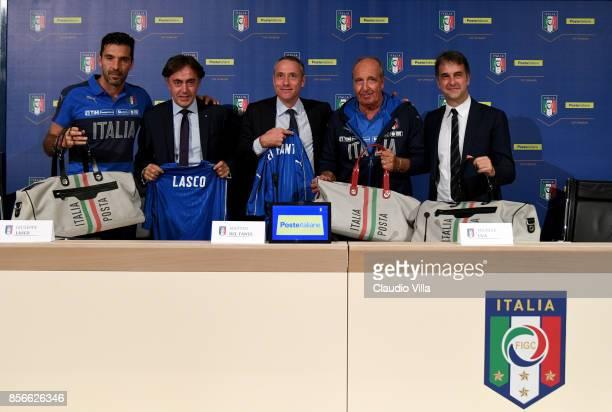 Gianluigi Buffon of Italy DCA Poste Italiane Giuseppe Lasco AD Poste Italiane Matteo Del Fante head coach Italy Gian Piero Ventura and FIGC General...