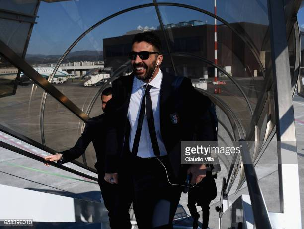 Gianluigi Buffon of Italy departs for Amsterdam on March 27 2017 in Florence Italy