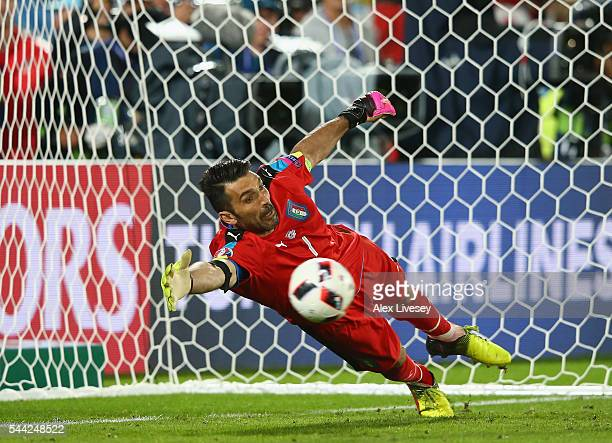 Gianluigi Buffon of Italy dives in vain as Joshua Kimmich of Germany scores at the penalty shootout during the UEFA EURO 2016 quarter final match...