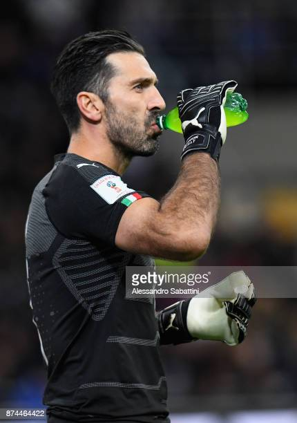Gianluigi Buffon of Italy drinks during the FIFA 2018 World Cup Qualifier PlayOff Second Leg between Italy and Sweden at San Siro Stadium on November...