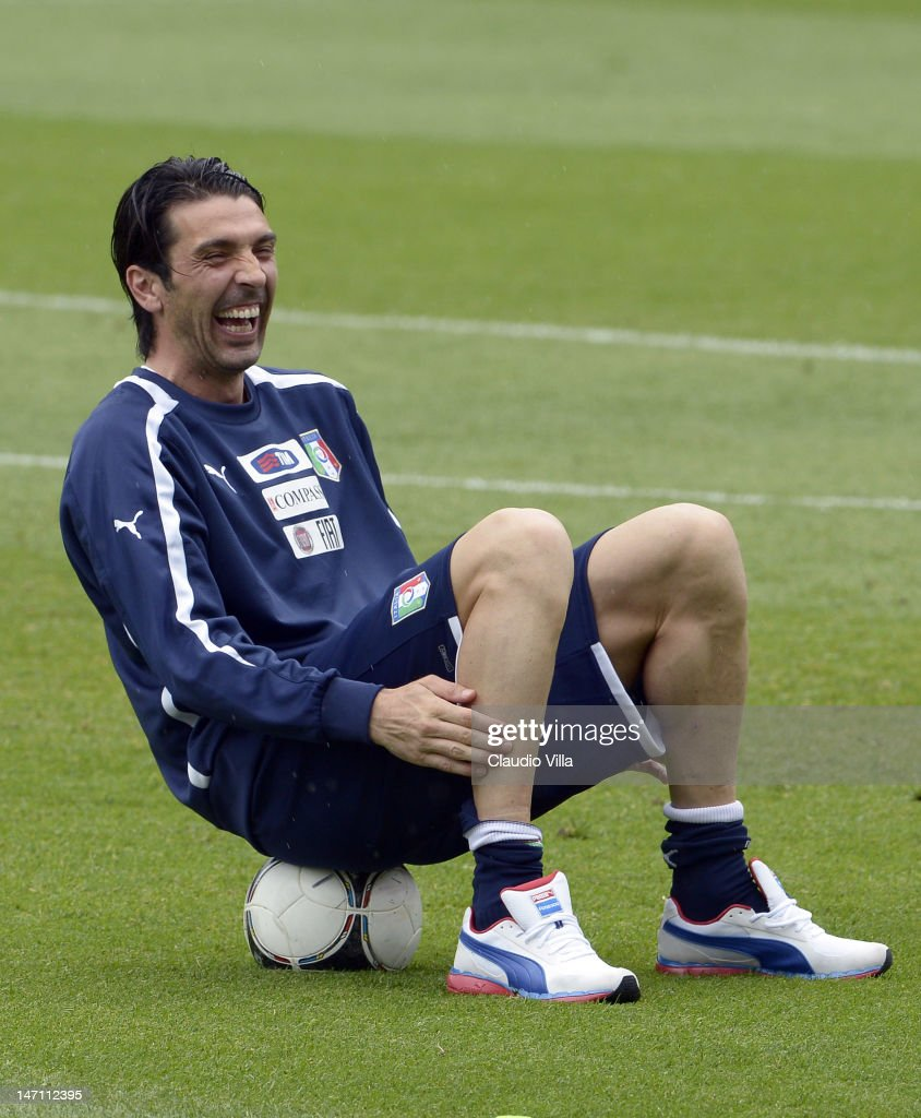 <a gi-track='captionPersonalityLinkClicked' href=/galleries/search?phrase=Gianluigi+Buffon&family=editorial&specificpeople=208860 ng-click='$event.stopPropagation()'>Gianluigi Buffon</a> of Italy during a training session at Marshal Józef Pilsudski Stadium on June 25, 2012 in Krakow, Poland.