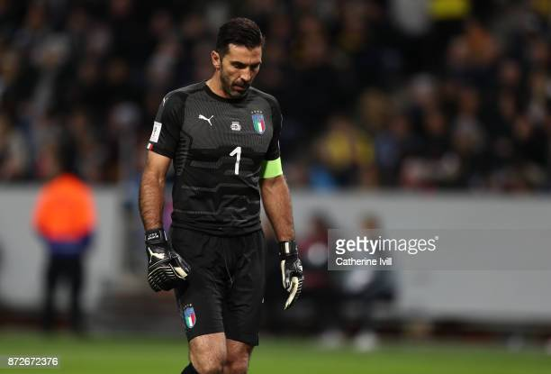 Gianluigi Buffon of Italy during the FIFA 2018 World Cup Qualifier PlayOff First Leg between Sweden and Italy at Friends arena on November 10 2017 in...
