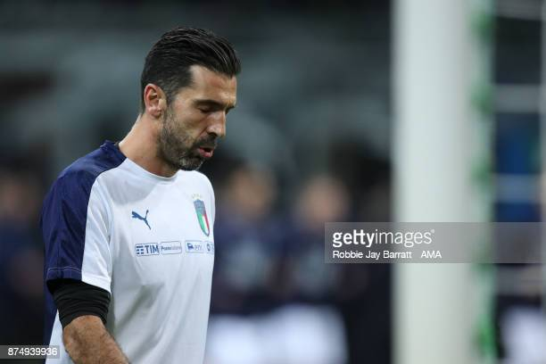 Gianluigi Buffon of Italy during the FIFA 2018 World Cup Qualifier PlayOff Second Leg between Italy and Sweden at San Siro Stadium on November 13...