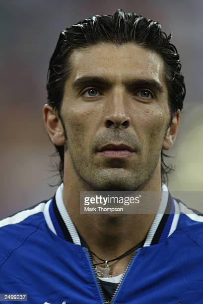 Gianluigi Buffon of Italy during the team line up during the Euro 2004 Qualifying Group 9 match between Italy and Wales on September 6 2003 at the...