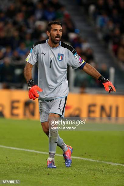 Gianluigi Buffon of Italy during the WC 2018 football qualification match between Italy and Spain The game ended 11