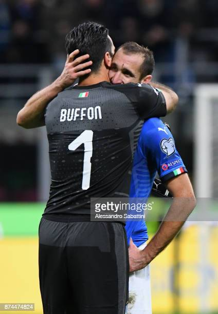 Gianluigi Buffon of Italy embraces Giorgio Chiellini of Italy after the FIFA 2018 World Cup Qualifier PlayOff Second Leg between Italy and Sweden at...