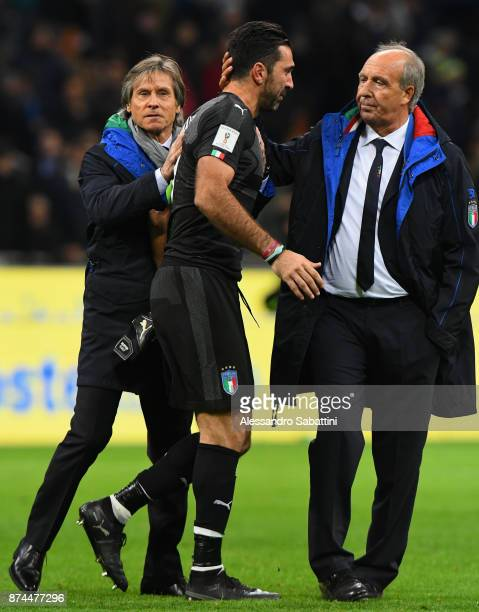 Gianluigi Buffon of Italy embraces Team Manager Italy Gabriele Oriali and head coach Gian Piero Ventura of Italy after the FIFA 2018 World Cup...