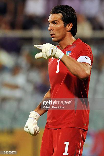 Gianluigi Buffon of Italy gestures during the UEFA EURO 2012 Group C qualifying match between Italy and Slovenia at Stadio Artemio Franchi on...
