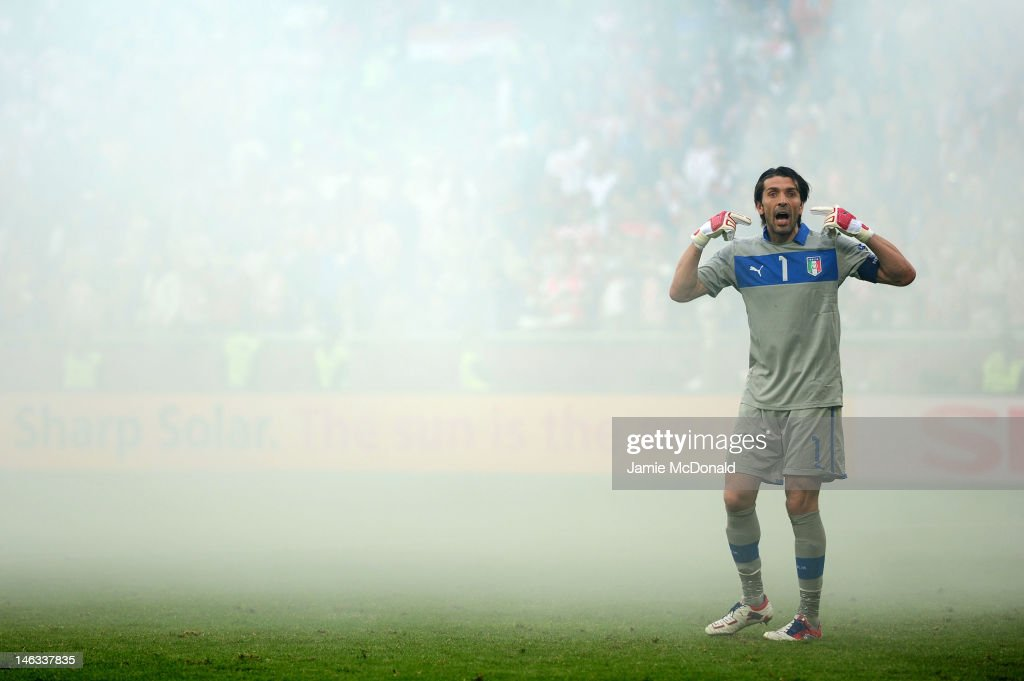Gianluigi Buffon of Italy gestures during the UEFA EURO 2012 group C match between Italy and Croatia at The Municipal Stadium on June 14, 2012 in Poznan, Poland.