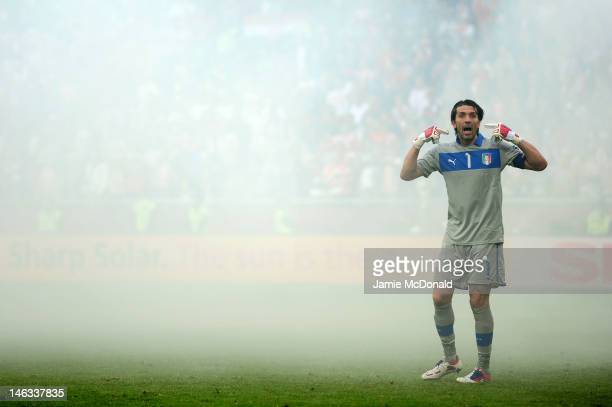 Gianluigi Buffon of Italy gestures during the UEFA EURO 2012 group C match between Italy and Croatia at The Municipal Stadium on June 14 2012 in...