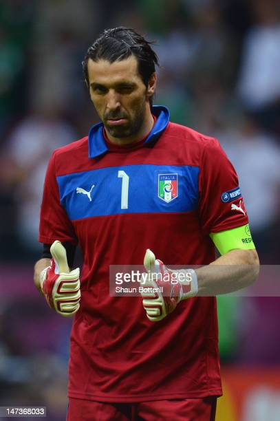Gianluigi Buffon of Italy gives a thumbs up and winks during the UEFA EURO 2012 semi final match between Germany and Italy at the National Stadium on...