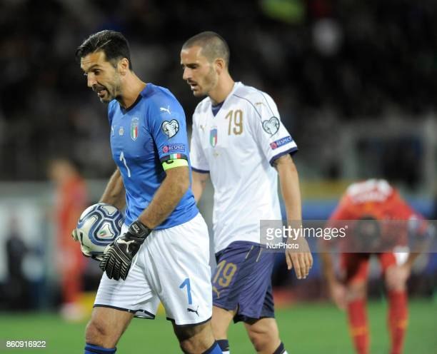 Gianluigi Buffon of Italy goalkeeper and Leonardo Bonucci of Italy player during the match valid for the Qualifying Round of Fifa World Cup Russia...