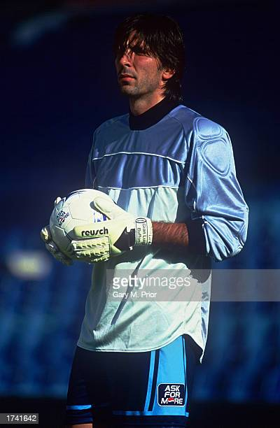 Gianluigi Buffon of Italy in action during filming for Pepsi's 'Share The Dream' 2002 advertising campaign in Madrid Spain on August 15 2001
