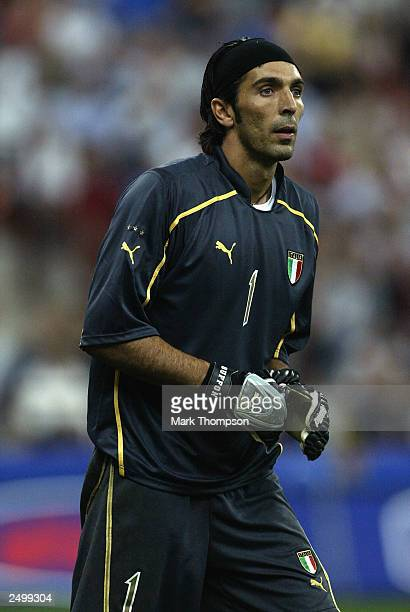 Gianluigi Buffon of Italy in action during the Euro 2004 Qualifying Group 9 match between Italy and Wales on September 6 2003 at the San Siro in...