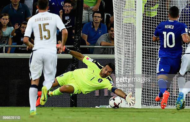 Gianluigi Buffon of Italy in action during the FIFA 2018 World Cup Qualifier between Israel and Italy at Itztadion Sammy Ofer on September 5 2016 in...