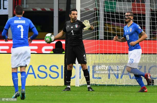 Gianluigi Buffon of Italy in action during the FIFA 2018 World Cup Qualifier PlayOff Second Leg between Italy and Sweden at San Siro Stadium on...