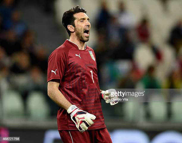 Gianluigi Buffon of Italy in action during the international friendly match between Italy and England at the Juventus Stadium on March 31 2015 in...