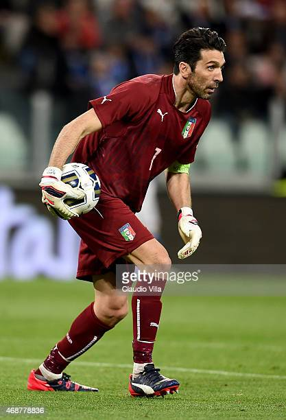 Gianluigi Buffon of Italy in action during the international friendly match between Italy and England at the Juventus Arena on March 31 2015 in Turin...