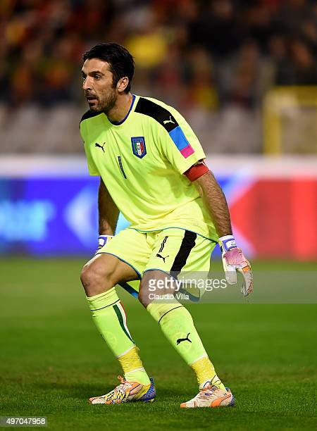 Gianluigi Buffon of Italy in action during the international friendly match between Belgium and Italy at King Baudouin Stadium on November 13 2015 in...