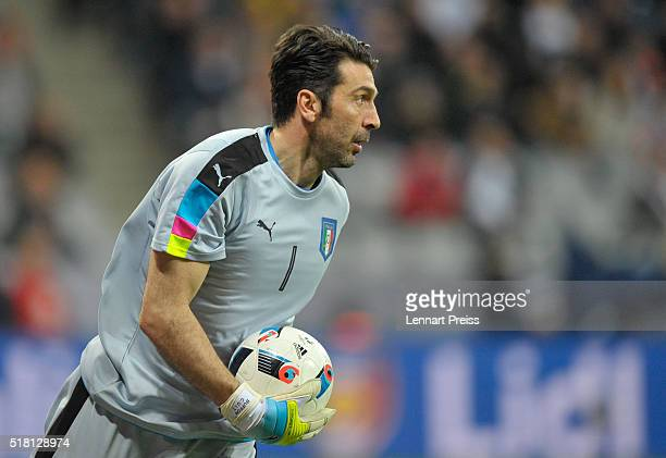 Gianluigi Buffon of Italy in action during the international friendly match between Germany and Italy at Allianz Arena on March 29 2016 in Munich...