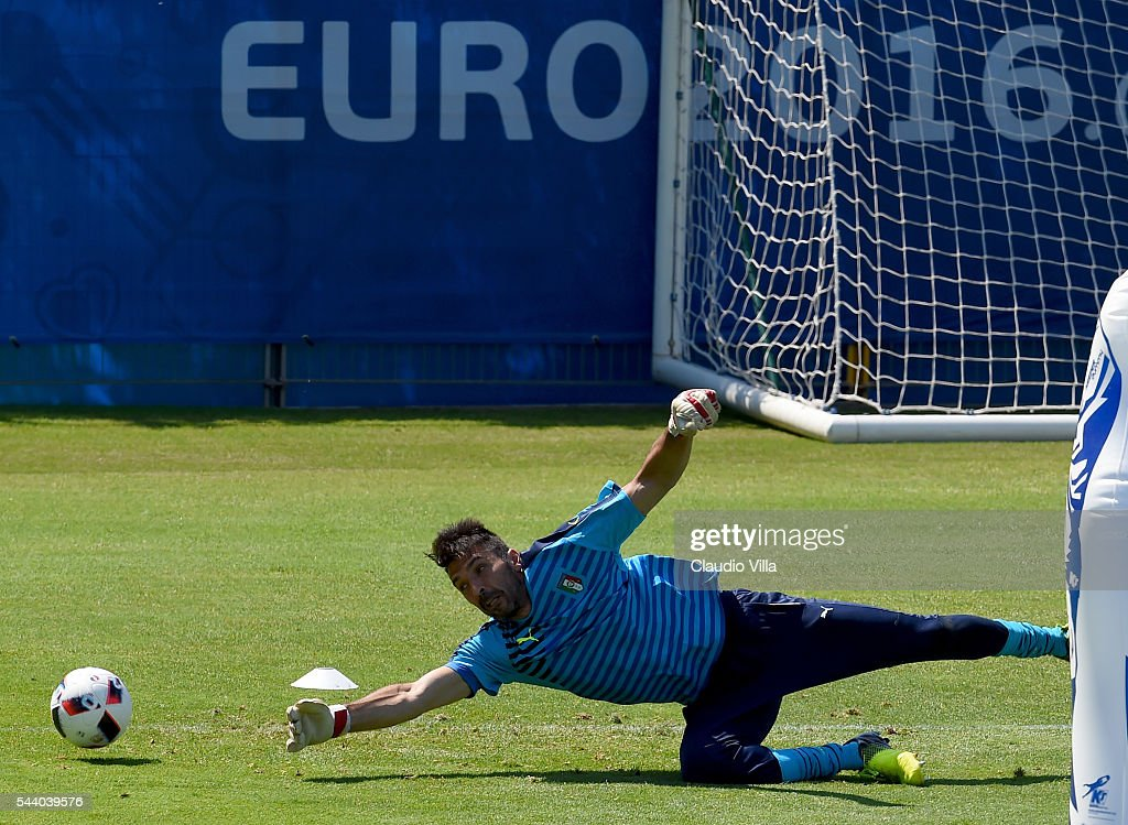 <a gi-track='captionPersonalityLinkClicked' href=/galleries/search?phrase=Gianluigi+Buffon&family=editorial&specificpeople=208860 ng-click='$event.stopPropagation()'>Gianluigi Buffon</a> of Italy in action during the training session at 'Bernard Gasset' Training Center on July 01, 2016 in Montpellier, France.