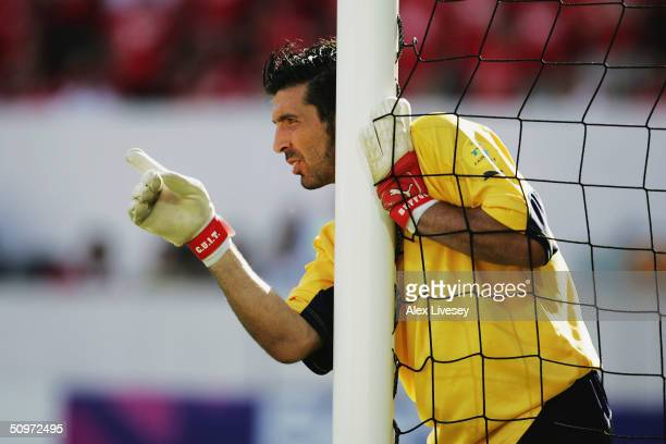Gianluigi Buffon of Italy in action during the UEFA Euro 2004 Group C match between Denmark and Italy at the DAlfonso Henriques Stadium on June 14...