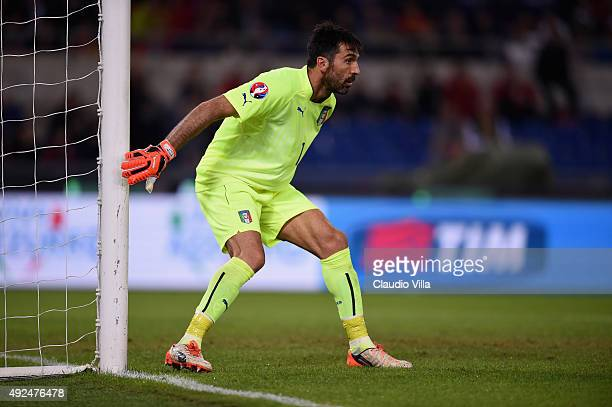 Gianluigi Buffon of Italy in action during the UEFA EURO 2016 Qualifier between Italy and Norway at Olimpico Stadium on October 13 2015 in Rome Italy
