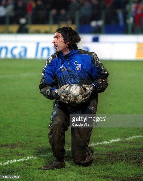 Gianluigi Buffon of Italy in action during warm up before qualifying for World Cup 2002 match played between Romania and Italy on March 23 2001 in...