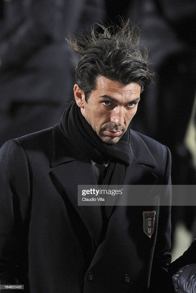<a gi-track='captionPersonalityLinkClicked' href=/galleries/search?phrase=Gianluigi+Buffon&family=editorial&specificpeople=208860 ng-click='$event.stopPropagation()'>Gianluigi Buffon</a> of Italy inspects the pitch ahead of the FIFA 2014 World Cup qualifier match between Malta and Italy at Ta' Qali Stadium on March 25, 2013 in Valletta, Malta.