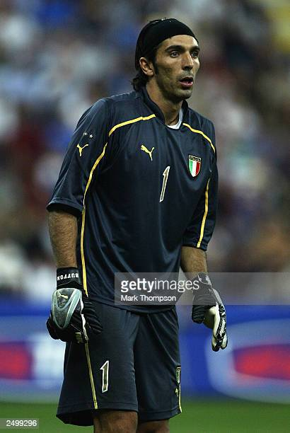 Gianluigi Buffon of Italy looks on during the Euro 2004 Qualifying Group 9 match between Italy and Wales on September 6 2003 at the San Siro in Milan...