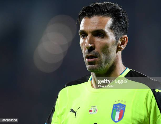 Gianluigi Buffon of Italy looks on during the FIFA 2018 World Cup Qualifier between Albania and Italy at Loro Borici Stadium on October 9 2017 in...