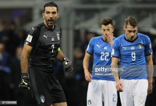 Gianluigi Buffon of Italy looks on during the FIFA 2018 World Cup Qualifier PlayOff Second Leg between Italy and Sweden at San Siro Stadium on...