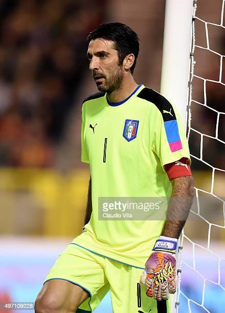 Gianluigi Buffon of Italy looks on during the international friendly match between Belgium and Italy at King Baudouin Stadium on November 13 2015 in...