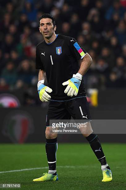 Gianluigi Buffon of Italy looks on during the international friendly match between Italy and Spain at Stadio Friuli on March 24 2016 in Udine Italy