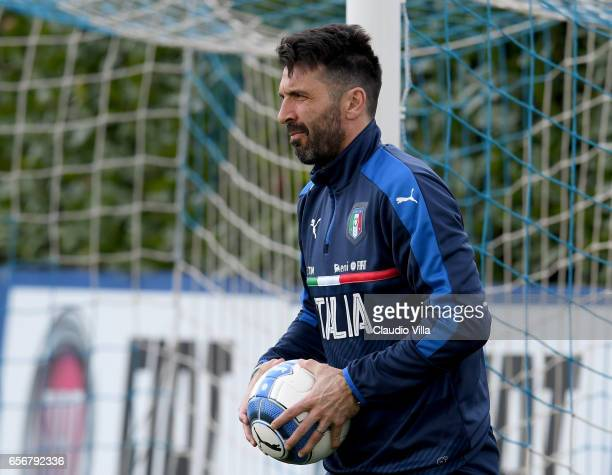Gianluigi Buffon of Italy looks on during the training session at the club's training ground at Coverciano on March 23 2017 in Florence Italy