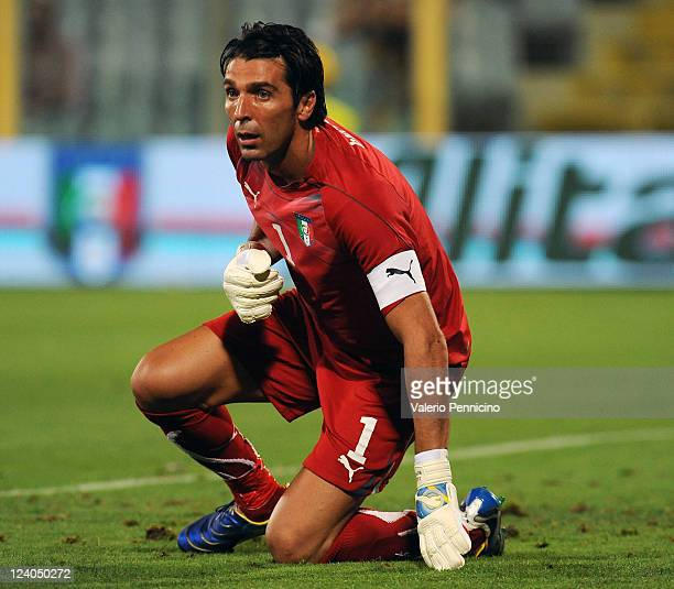 Gianluigi Buffon of Italy looks on during the UEFA EURO 2012 Group C qualifying match between Italy and Slovenia at Stadio Artemio Franchi on...