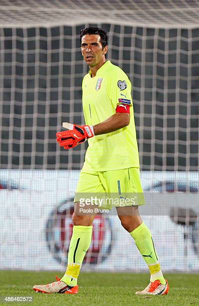 Gianluigi Buffon of Italy looks on during the UEFA EURO 2016 qualifier between Italy and Malta on September 3 2015 in Florence Italy