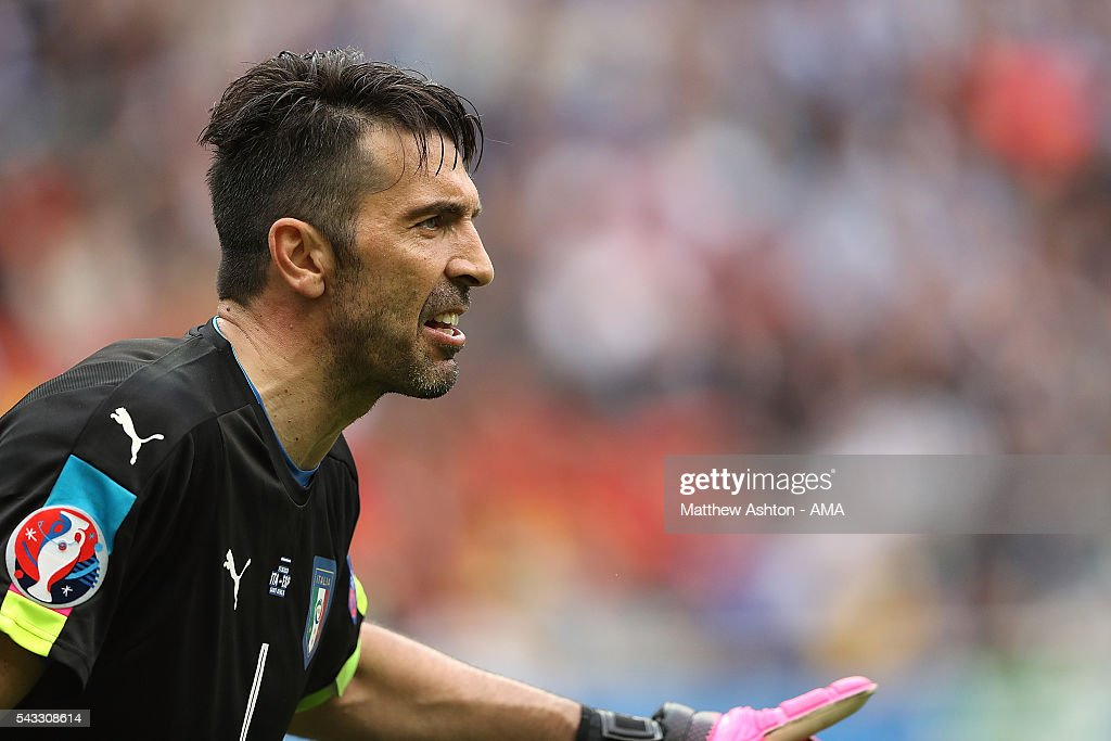 <a gi-track='captionPersonalityLinkClicked' href=/galleries/search?phrase=Gianluigi+Buffon&family=editorial&specificpeople=208860 ng-click='$event.stopPropagation()'>Gianluigi Buffon</a> of Italy looks on during the UEFA Euro 2016 Round of 16 match between Italy and Spain at Stade de France on June 27, 2016 in Paris, France.