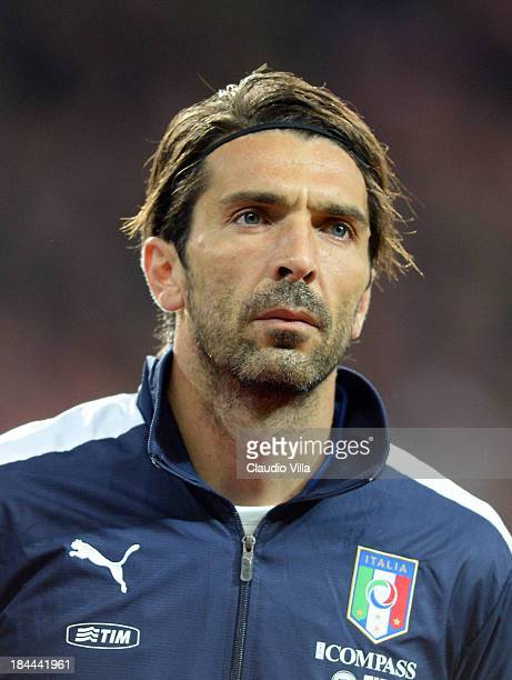 Gianluigi Buffon of Italy looks on prior to the FIFA 2014 world cup qualifier between Denmark and Italy at Parken Stadium on October 11 2013 in...