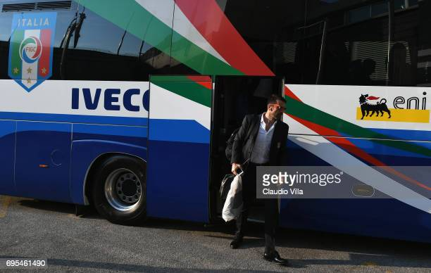 Gianluigi Buffon of Italy looks on prior to the FIFA 2018 World Cup Qualifier between Italy and Liechtenstein at Stadio Friuli on June 11 2017 in...