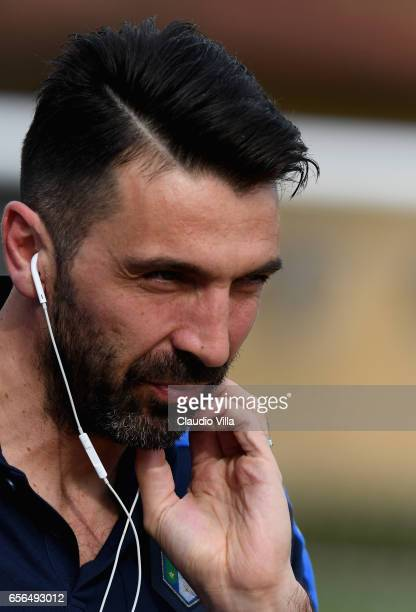 Gianluigi Buffon of Italy looks on prior to the training session at the club's training ground at Coverciano on March 22 2017 in Florence Italy
