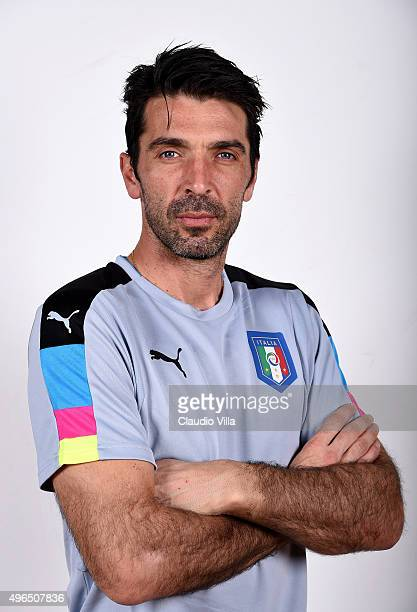 Gianluigi Buffon of Italy poses during the official portrait session at Coverciano on November 10 2015 in Florence Italy