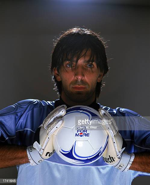 Gianluigi Buffon of Italy poses for Pepsi's 'Share The Dream' 2002 advertising campaign in Madrid Spain on August 15 2001
