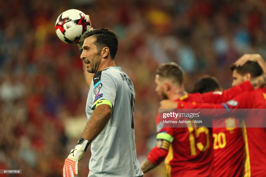 Gianluigi Buffon of Italy reacts after Alvaro Morata of Spain scored a goal to make the score 3-0 during the FIFA 2018 World Cup Qualifier between Spain and Italy at Estadio Santiago Bernabeu on September 2, 2017 in Madrid, Spain.